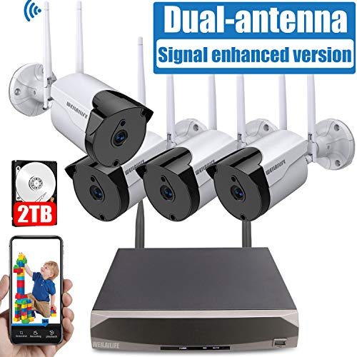 [2019 Signal Enhanced Version] Security Camera System Wireless, 8 Channel Surveillance DVR Recorder and 4Pcs 960P Home Outdoor Motion Activated IP Bullet Camera with Night Vision, 2TB Hard Drive