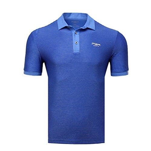 Kayiyasu ポロシャツ メンズ ゴルフウェア UVカット ゴルフシャツ オシャレ スポーツシャツ 男性用 半袖 Tシャツ 運動着 日焼け止め 021-xsty-yf125(M ブルー)
