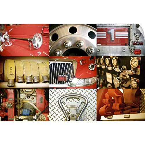 CANVAS ON DEMAND Collage of A Red Firetruck and All Its Components Wall Peel Art Print, 48