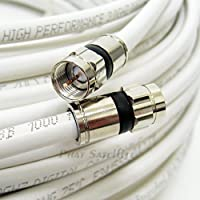 100ft WHITE Perfect Vision Solid Copper UL CM CL2 rated for in wall installation 3ghz 75 Ohm Coaxial Rg6 Directv, Dish Network, Cable Tv Video Cable w/ PPC Rg6 Fittings by PHAT SATELLITE INTL