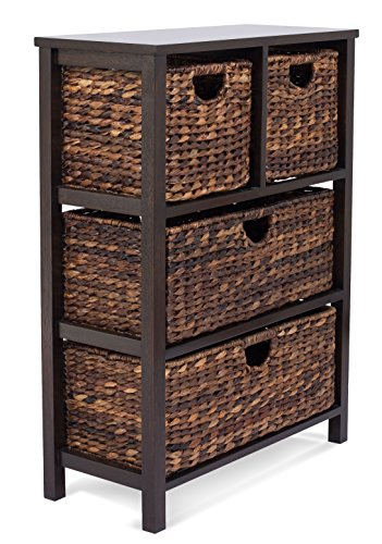 BIRDROCK HOME Seagrass Cubby Dresser | 4 Drawer Bins | Decorative Wood Storage Cubbies Shelf Organizer | Industrial Furniture Chest Basket | Espresso