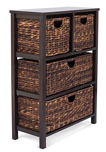 - BIRDROCK HOME Seagrass Cubby Dresser | 4 Drawer Bins | Decorative Wood Storage Cubbies Shelf Organizer | Industrial Furniture Chest Basket | Espresso