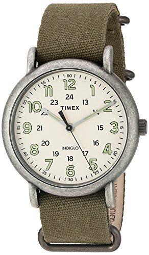 Timex Men's TW2P85900 Weekender Oversize Antiqued Chrome/Olive Canvas Slip-Thru Strap Watch