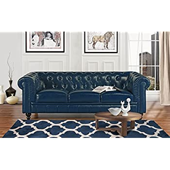 Amazon.com: Classic Scroll Arm Leather Match Chesterfield ...