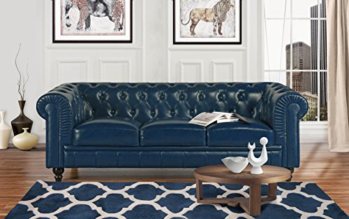 Classic Scroll Arm Leather Match Chesterfield Sofa (Blue)