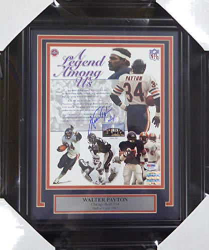 (Walter Payton Autographed Framed 8x10 Photo Chicago Bears PSA/DNA Stock #123681 )