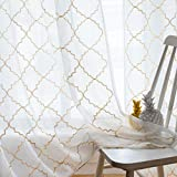 Sheer Curtains Gold 95 Inches Long, Rod Pocket Drapes for Living room, Bedroom, Embroidered Moroccan Tile Lattice Design Semi Crinkle Voile Curtain Panels for Patio, Villa, Parlor, Set of 2, 52″x95″. Review