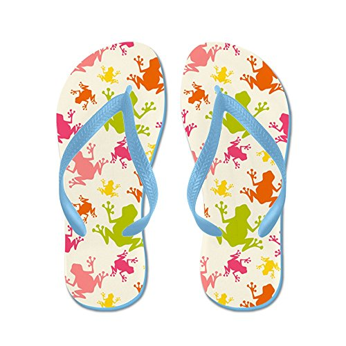 CafePress Cute colorful Frogs Pattern - Flip Flops, Funny Thong Sandals, Beach Sandals Caribbean Blue