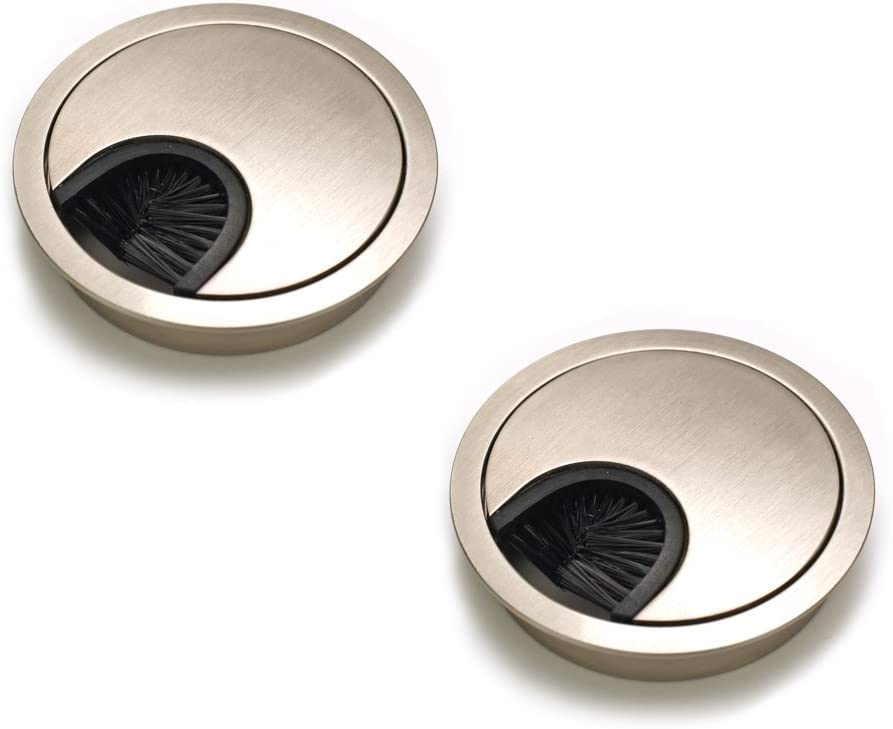 Sossai Desk Cable Grommet//Cable Outlet//Cord Hole Cover Plate with Tidy Brush for Desks Design: Brushed Steel Offices /& Worktops Material: Metal Set of 2 KDM1-GS Diameter: 60 mm
