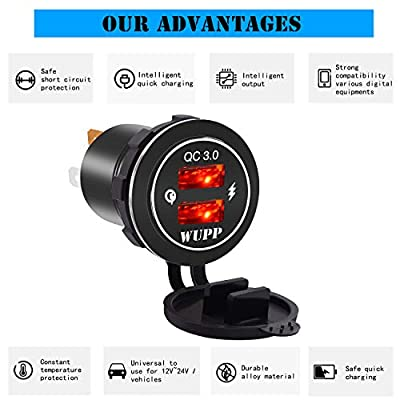 BlueFire Upgraded Aluminum Alloy Fast Charging Dual QC3.0 USB Charger Socket IP66 Waterproof Built in LED Light for Car Boat Marine Rv Motorcycle(Red)