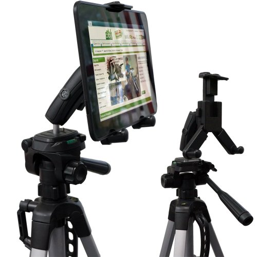 ChargerCity HDX-2 Tablet Selfie Video Camera Recording Photo Booth Tripod Adapter Mount wDual 360 Swivel Adjustment Joint & Universal Tablet holder for 7 8 10 12 screen tablets for Apple iPad Air Mini 2 3 4 Plus (Retina) Samsung Galaxy Tab 3 4 Not...