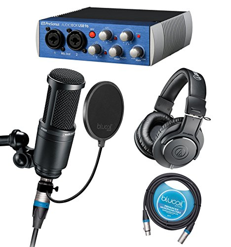 Audio-Technica AT2020 Cardioid Condenser Microphone with Presonus AudioBox USB 96 2x2 USB Audio Interface, Studio One Recording Software, ATH-M20x Headphones, Blucoil Pop Filter AND 10' XLR - At2020 Audio