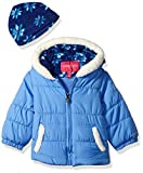 LONDON FOG Baby Girls Puffer Jacket with Scarf, Pink Sapphire, 12M