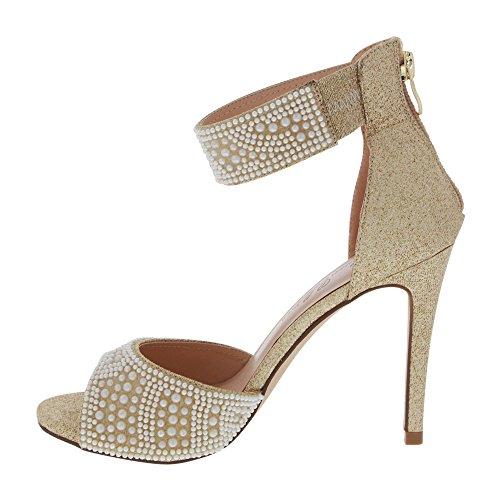 Kvinna Skimmer Klack Sandal Med Faux-pärla Applique (8,5, Naken)