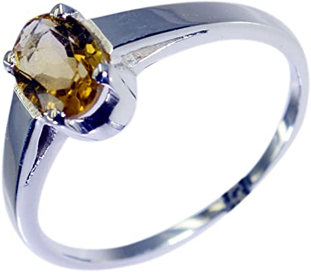 Jewelryonclick Elegant Genuine Citrine Sterling Silver Ring For Women Available in Sizes 4,5,6,7,8,9,10