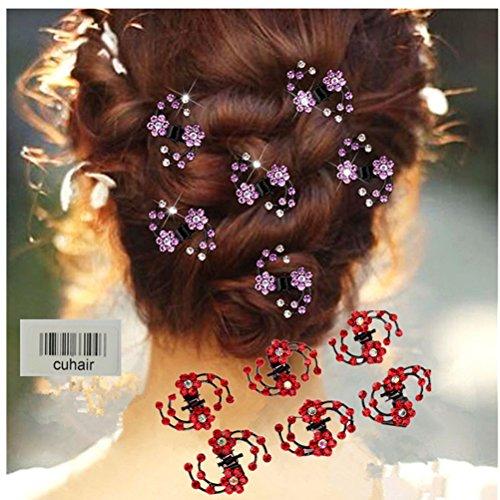 cuhair 6pcs Crystal Rhinestone Women Girl Party Wedding Hair Clip Claw Hair Pin Hair Accessories (blue) -