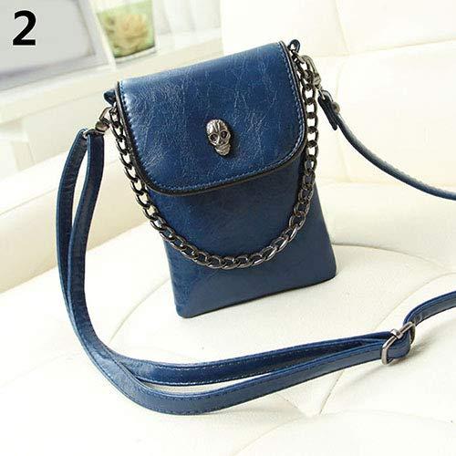 Bangle009 Clearance Sale Women\'s Fashion Faux Leather Skull Pattern Mini Messenger Bag Phone Bag Handbag Black