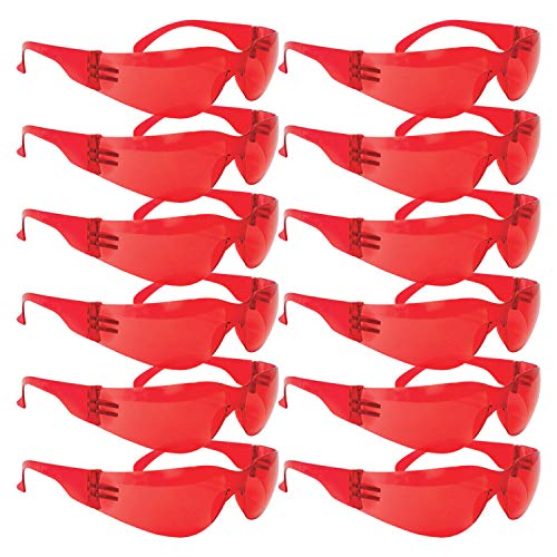 BISON LIFE Full Color Safety Glasses | One Size, Adult, Youth, Full Color Polycarbonate Lens and Temple, RED, 12 per Box (1 box/12 Pairs)
