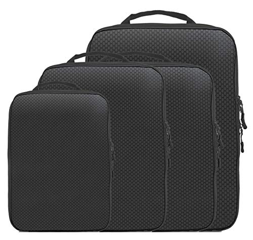 Magictodoor Dual Sided Compression Packing Cubes Separate Dirty Clothes Organizer (Black,4 Set)
