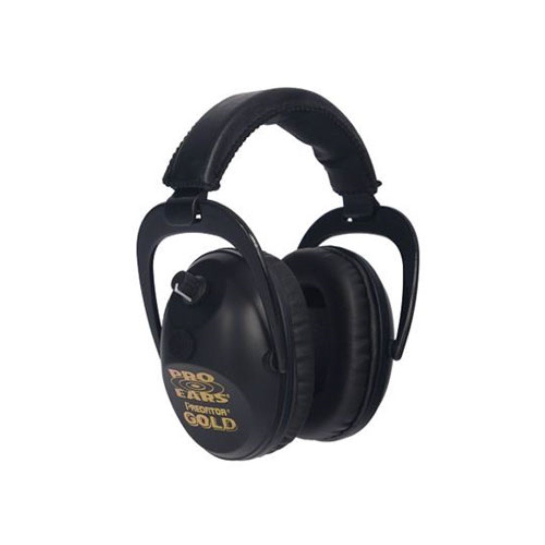 Pro Ears - Predator  Gold - Hearing Protection and Amplfication - NRR 26 - Contoured Ear Muffs - Black