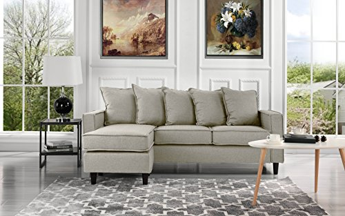 Modern Linen Fabric Sectional Sofa - Small Space Configurable Couch (Beige)