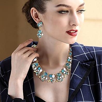 Clearine Mujer Tribal /Étnico Cristal Forma-Mixta Racimo Brillante Collar Colgante Pendientes Conjunto