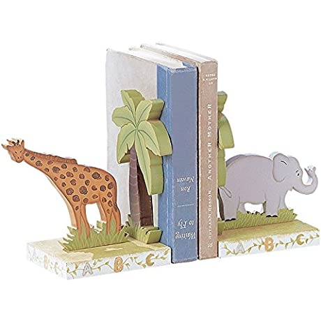 Fantasy Fields Alphabet Thematic Set Of 2 Wooden Bookends For Kids Imagination Inspiring Hand Crafted Hand Painted Details Non Toxic Lead Free Water Based Paint