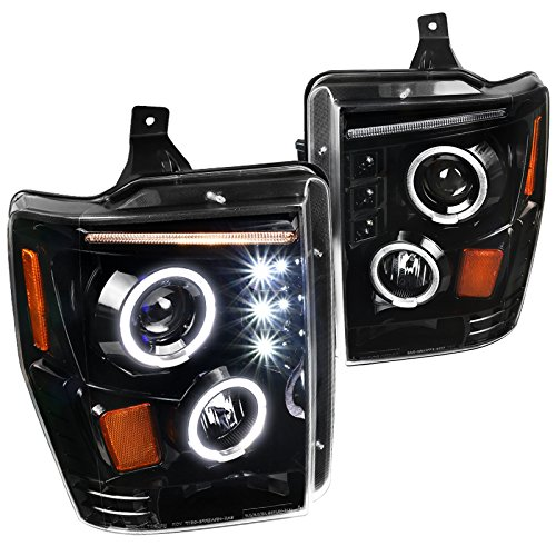 Ford 2008-2010 F250 F350 F450 SuperDuty Jet Black LED DRL Projector ()