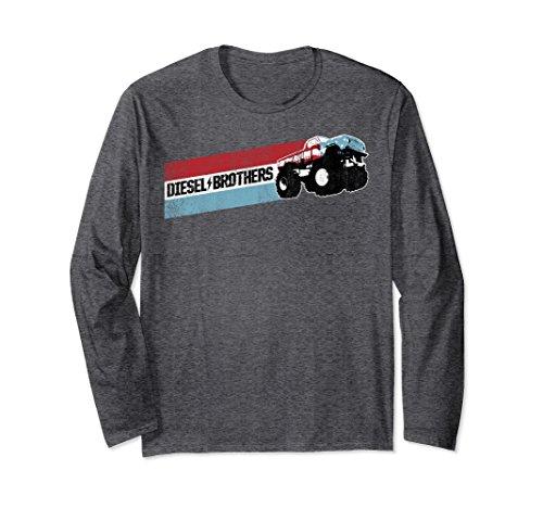 - Unisex Diesel Brothers Red White Blue Stripe Truck Long Sleeve Tee XL: Dark Heather