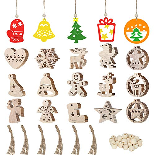 Blulu 60 Pieces Christmas Wooden Ornaments Wooden Craft Embellishments Hanging Ornaments Decoration Unfinished Ornaments Xmas Tree Hanging Tag with 60 Pieces Strings and Natural Wood Beads (Wooden Paint To Santas)