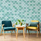 Moroccan Fishscale Tile Stencil - Faux Moroccan Tiles - DIY Patterns for Home Makeovers (Large)