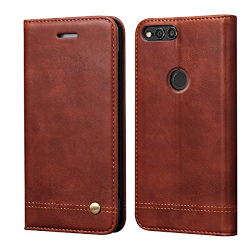Huawei Mate SE Case, Honor 7X Case,RUIHUI Luxury Leather Wallet Folding Flip Protective Case Cover with Card Slots,Kickstand Feature and Magnetic Closure for Huawei Honor 7X/Mate SE (Brown)