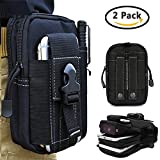 Universal Outdoor Waist Bag, Tactical EDC Tool Holsters Molle Pouch Hiking Camping Cycling Trekking Belt Purse for 6.2'' Phone, iPhone X/8/8 Plus/7/6s (Black - 2Pack)