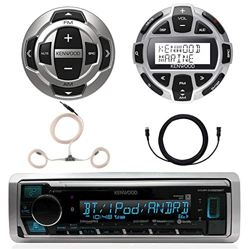 Kenwood Marine Boat Yacht Digital Media USB AUX Bluetooth Stereo Receiver (No CD), Kenwood Digital LCD Display Wired Remote, Kenwood Wired Remote, 22