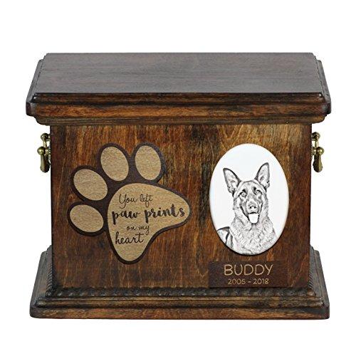 (Art Dog Ltd. German Shepherd, urn for dog's ashes with ceramic plate and description)