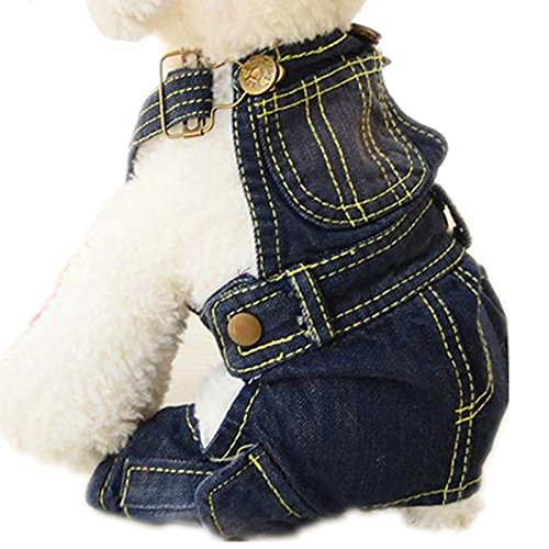 Tromy Pet Jean Clothes Dog Denim Overall/Poloshirt 2 Styles 5 Sizes S1,XS by Tromy (Image #1)