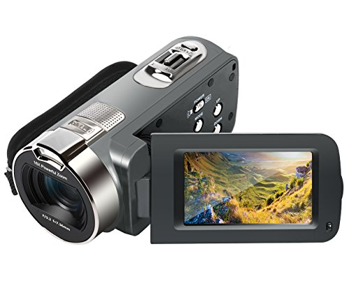 Camera Camcorder, Besteker HD 1080P 24MP 16X Digital Zoom Video Camcorders with 270 Degree Rotation Screen (312P GUN)