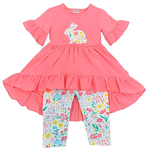 Boutique Little Girls Easter Bunny HI-Low Ruffles Tunic Capris Outfit Set Coral Floral -