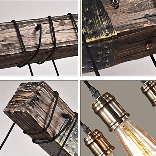 Rustic Wood Beam Edison Hanging Ceiling Light ,Natural Reclaimed Wooden Style Pendant Lighting E26x10 Lights Retro Industrial Style Chandeliers for Bar Kitchen Dining Room by Eoyemin (Image #4)