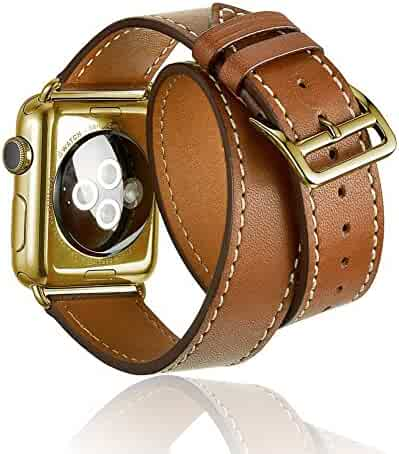 AWSTECH 38mm Luxury Genuine Leather Extra-Long Double Tour Band Strap Bracelet Replacement Watch Band With Adapter Clasp for for Apple Watch Series 1 Series 2 Brown