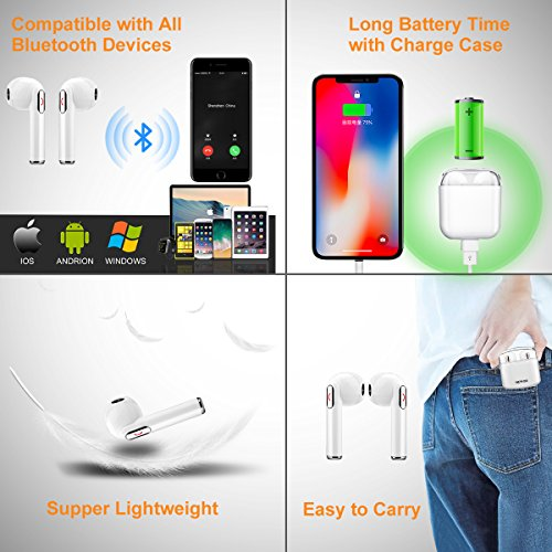 Wireless Earbuds Bluetooth Headphones Stereo Bluetooth Earbud Wireless Earphones Mini In-Ear Headphones Sweatproof Sport Earbud Noise Cancel Mic Charging Case (White) by Newor (Image #6)