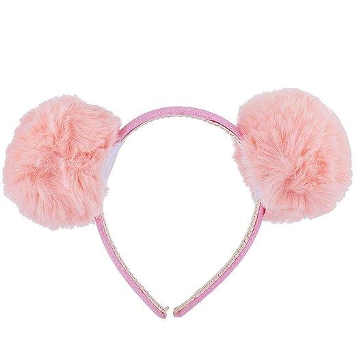 Lux Accessories Pink Glitter Faux Fur Pom Cat Ear Puff Ear Halloween  Headband def5be5eb3f