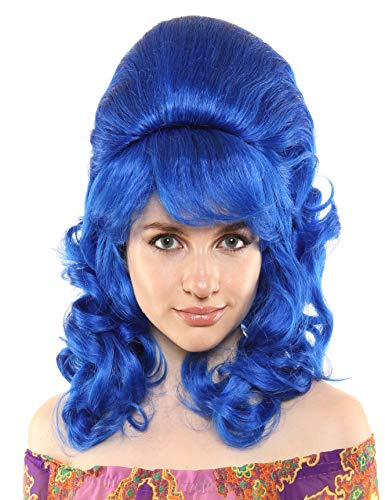 Premium Quality 1960's Beehive Wig with Natural Curls (Royal -