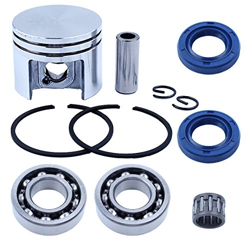 Haishine 38mm Piston Pin Rings Circlips Kit w/Crank Bearings Oil Seals For Stihl MS180 018 MS 180 Chainsaw w/Needle Beaing Replace Part