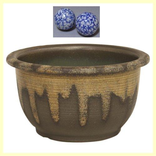 R13-402W 信楽焼 陶器 窯肌櫛目水鉢 13号 (浮き玉2個付です) B013HTV1KI