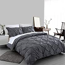 Ucharge Duvet Cover King, 3Pcs Pinch Pleat Luxurious Decorative Softest Dark Grey Brushed Microfiber Bedding Set with Zipper Closure and Corner Ties