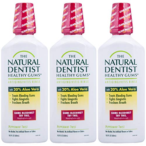 The Natural Dentist Healthy Gums Mouth Wash, Peppermint Twist, 16.9 Ounce (Pack of 3)