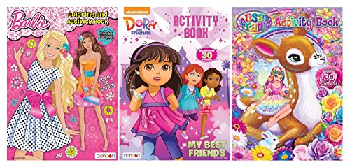 Bundle of 3 Coloring and Activity Books - Barbie, Dora and Friends, Lisa Frank
