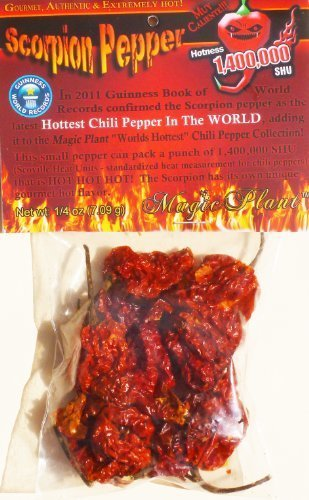 Dried Trinidad Scorpion Chili Pepper Pods - Hard to Find Limited Edition of the Hottest Pepper in the World 1,400,000 SHU (7.9gr-1/4oz) Super Hot and T Scorpion Pepper with an Amazing Test by Magic Plant [Foods]