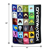 JUST FUNKY Official Overwatch Heros Fluffy Blanket/Comforter, 220 GSM Flannel Fleece, Set of 1, 45 X 60 inches, Gift - Throw, Blankets, Travel Blanket